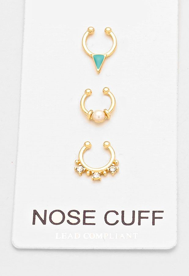 3 pc Gold Crystal Pearl Fake Septum Piercing Set, Faux Nose Ring