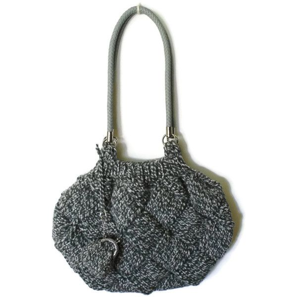 Shoulder Bag Knitted in Tweed Gray Wool (€59) ❤ liked on Polyvore featuring bags, handbags, shoulder bags, grey shoulder bag, gray shoulder bag, gray handbags, shoulder bag handbag and long purse