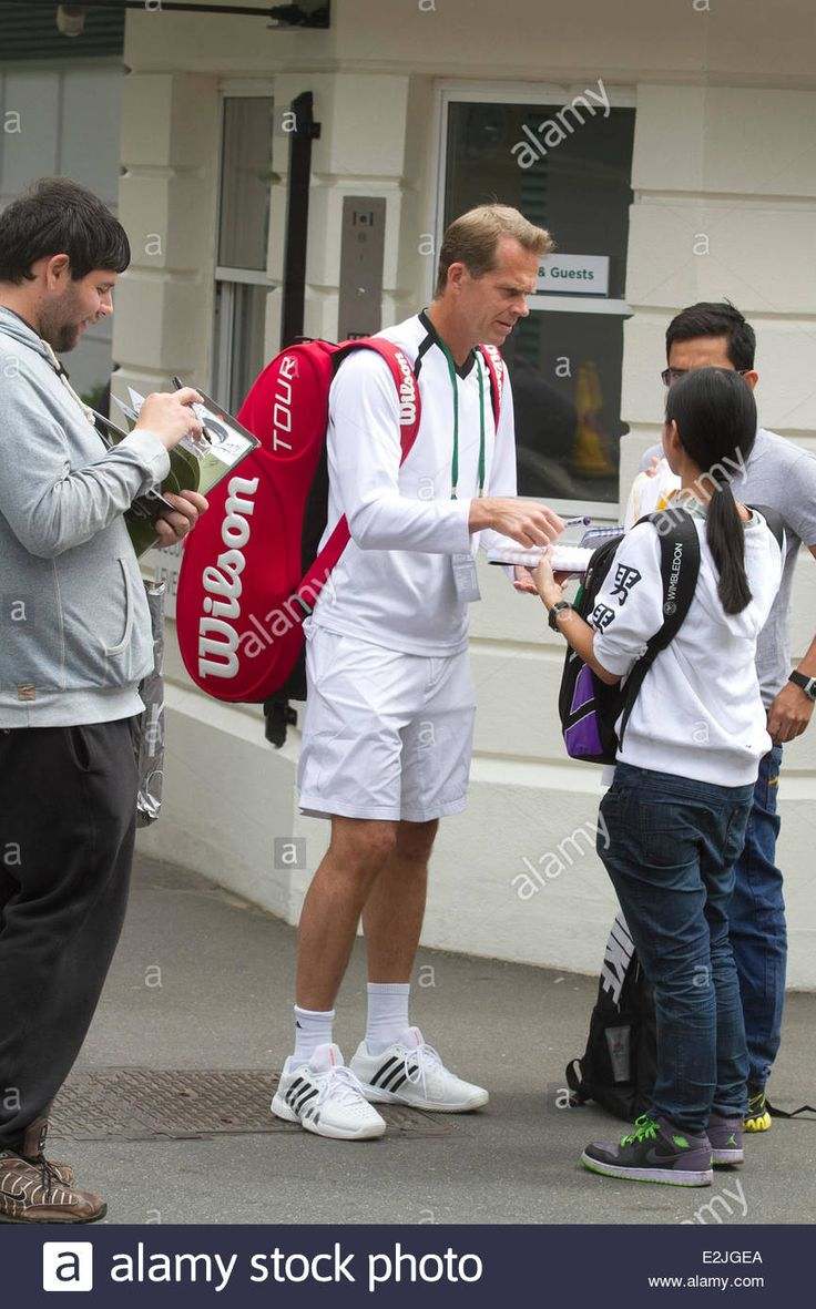Wimbledon London , 20th June 2014. Former Wimbledon champion Stefan Edberg seen in Wimbledon with autograph hunters outside the AELTC in the run up to the 2014 Wimbledon lawn tennis championships which start on 23rd June Credit:  amer ghazzal/Alamy Live News Stock Photo