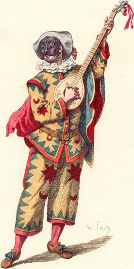 Trivellino. Personaggio che appartiene a una delle numerose elaborazioni del secondo Zanni o servo sciocco, a cui appartiene lo stesso Arlecchino.  Dal costume molto simile a quello di Arlecchino, lo si ritrova solo in una stampa della prima metà del Settecento con un raffinato abito bianco molto attillato decorato con lusse, soli e motivi geometrici di forma triangolare.