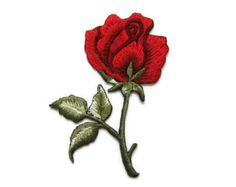 Red Roses Tattoo Biker Embroidered Applique Iron on by FloraCo