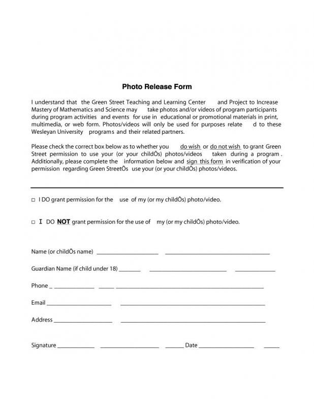Photo Release Form Template Photography Release Form Cooking Advice Coffee Health Benefits