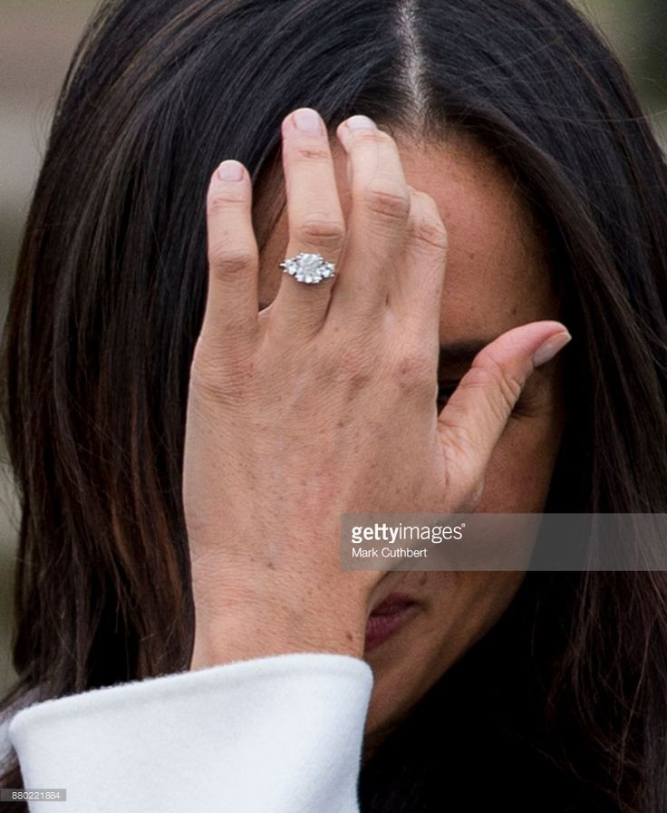 Meghan Markle with her engagemnt ring during an official photocall to announce the engagement of Prince Harry and actress Meghan Markle at The Sunken Gardens at Kensington Palace on November 27, 2017 in London, England.  Prince Harry and Meghan Markle have been a couple officially since November 2016 and are due to marry in Spring 2018.  (Photo by Mark Cuthbert/UK Press via Getty Images)