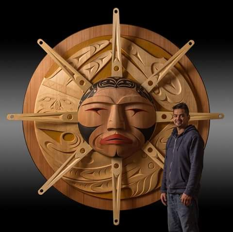 "sun panel""...luke marston...coast salish artist..carver....ladysmith..british columbia...Primarily Wood..."