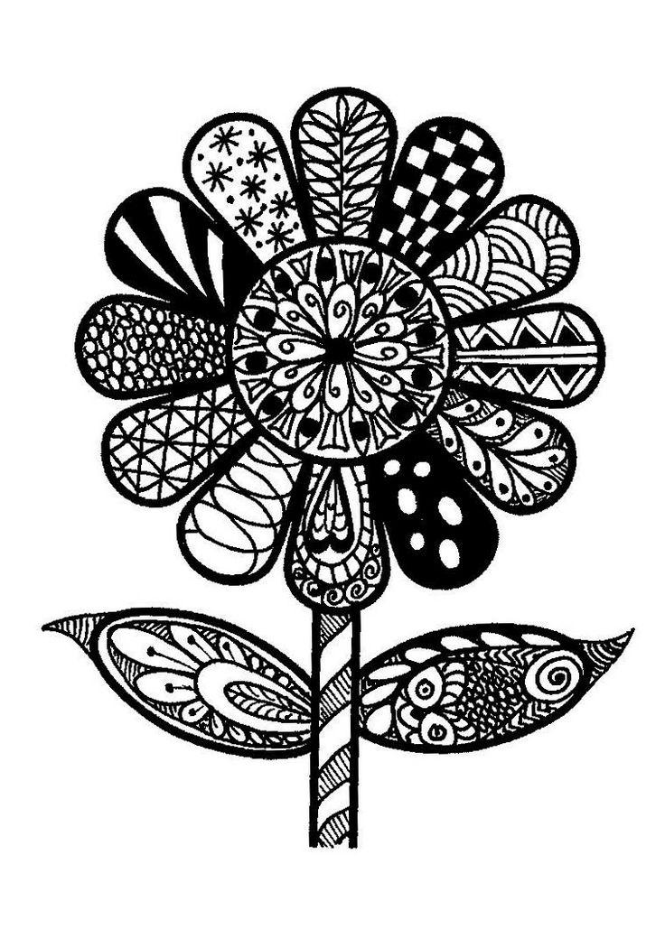 zentangle doodle patterns easy daisy zen flowers doodles zentangles step flower simple drawing coloring project beginner adult daisies zentangled folk