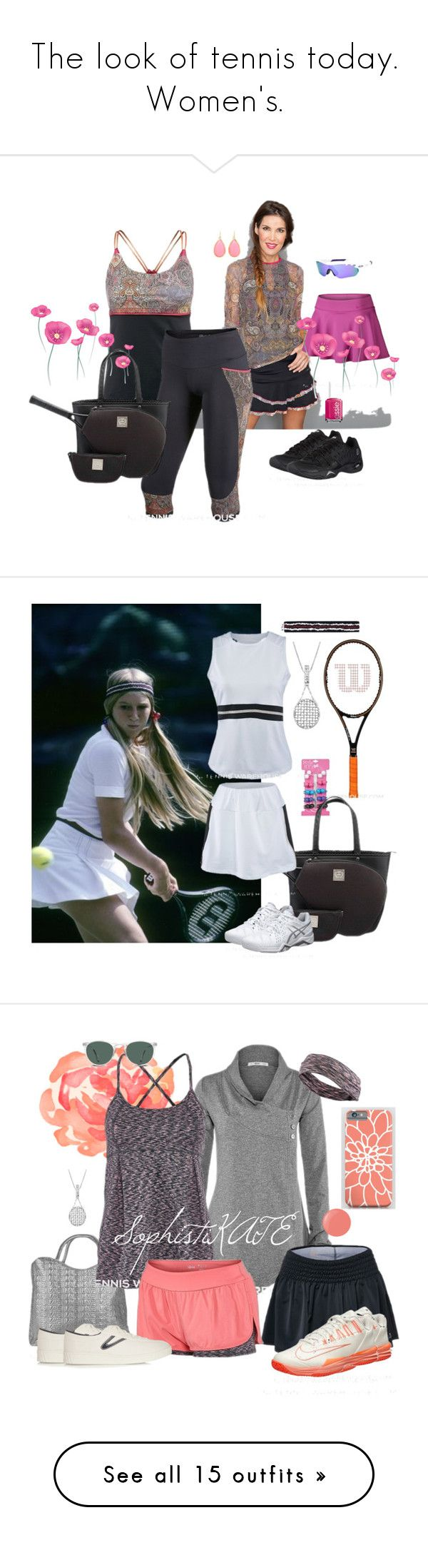 """The look of tennis today. Women's."" by tennisidentity ❤ liked on Polyvore featuring Oakley, NIKE, Kate Spade, Essie, Savanna, Fila, Asics, vintage, Haskell and Tretorn"