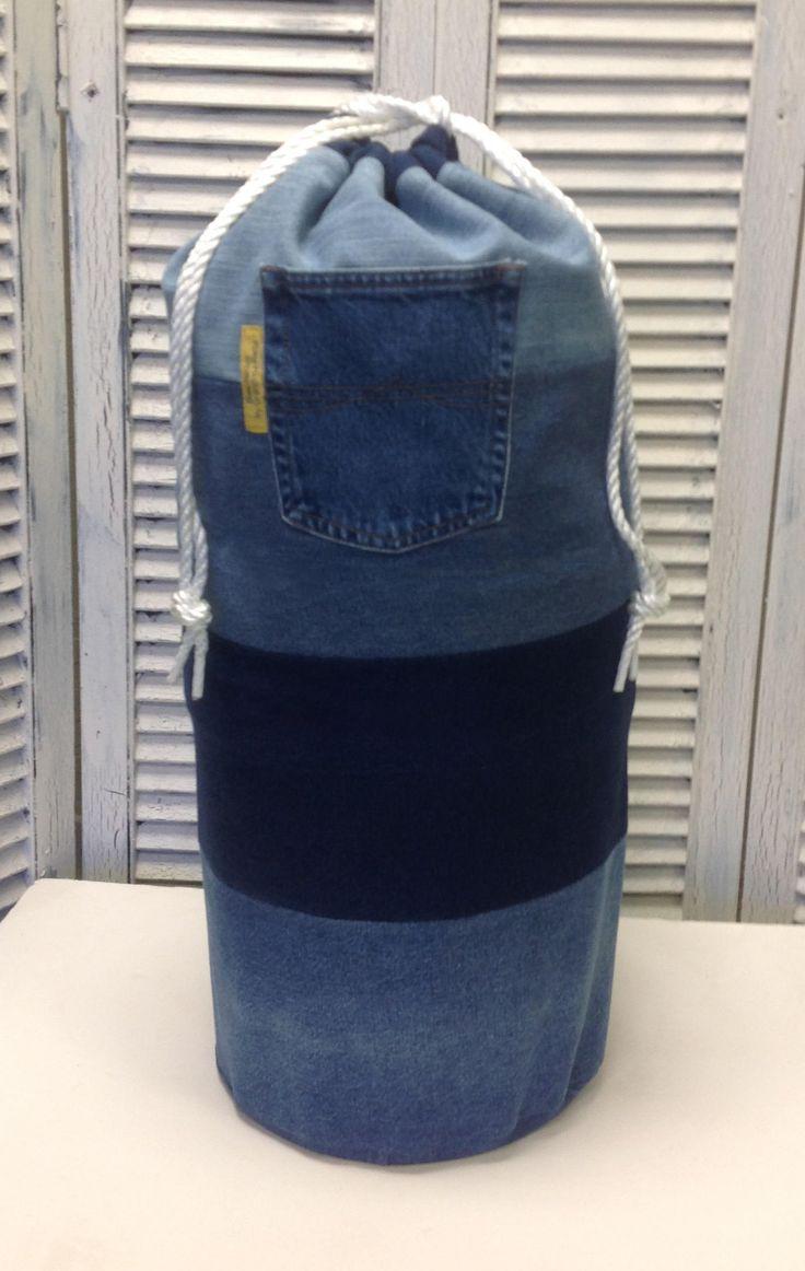 Bleu Redux Upcycled Denim Laundry Bag by GrandmaRietas on Etsy