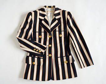Escada by Margaretha Ley vintage cotton marine style blazer stripes jacket size small gold buttons -    Edit Listing  - Etsy