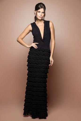 Vestido Crochet Longo Grammy Preto - Vanessa Monto - vanessamontoro