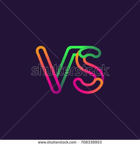 initial logo letter VS, linked outline rounded logo, colorful initial logo for business name and company identity.