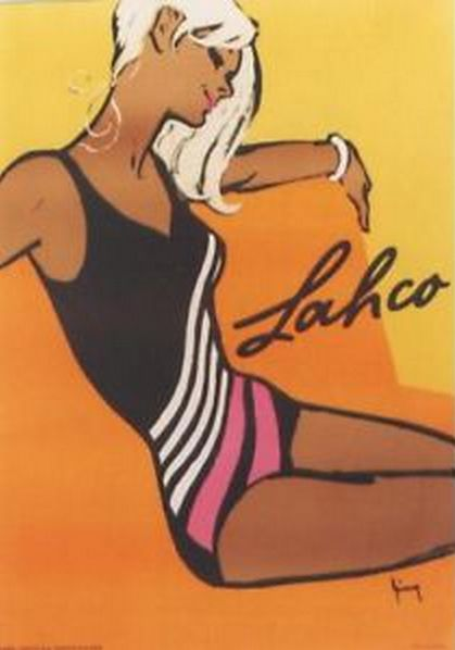 Poster by Gerd Grimm, 1964, Lahco Swimwear.
