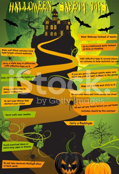 Halloween Haunted House Safety Tips Infographic royalty-free stock vector art