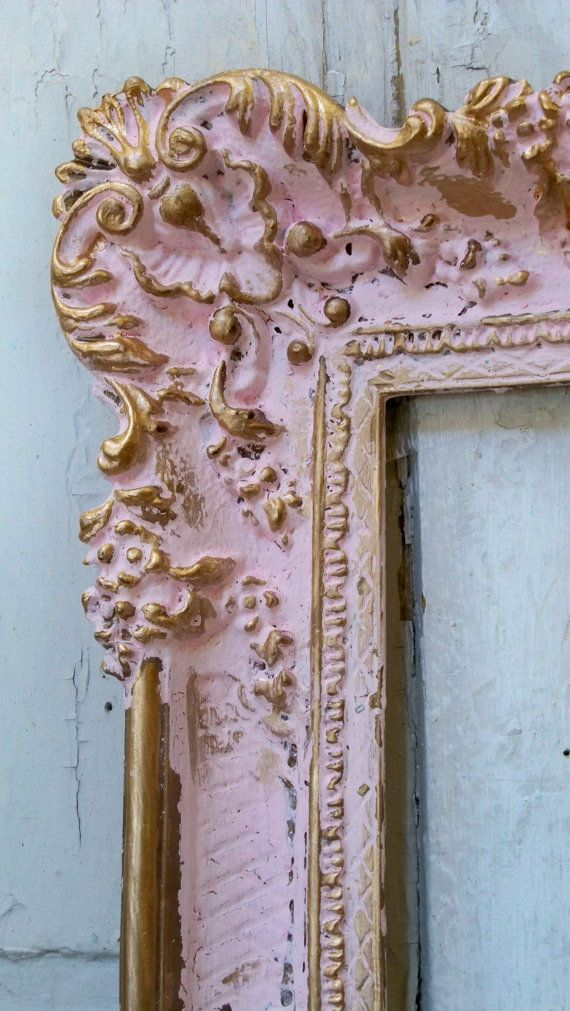 Large picture frame shabby chic vintage pink gold romantic wall home decor Anita Spero  This is a reworked/recycled vintage piece    I painted this frame in a custom mix pink and accented with gold. Very ornate and pretty. This would look amazing as an empty frame on the wall as part of your decor, or add a large art piece to it.    Vintage Hollywood Regency frame (composite) 21.5 by 36.5, inside 29 1/2 by 14    Find out more about me, and where you can ask me anything .  Go to:  about   or…