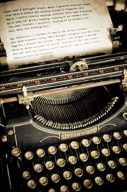 There is something uniquely beautiful about a typewriter and writings from one.. Its What REAL writers wrote on. And though I love my pen and paper, I WILL have one of my own someday:)