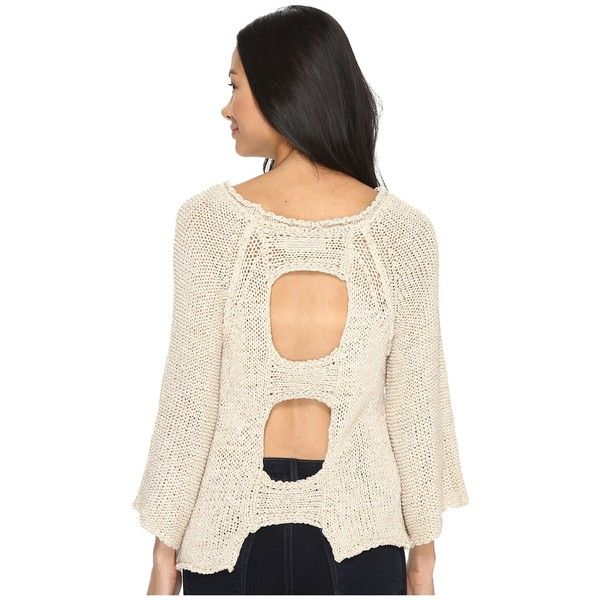 Brigitte Bailey Leah Open Back Sweater (Beige) Women's Sweater ($84) ❤ liked on Polyvore featuring tops, sweaters, cut-out tops, textured sweater, 3/4 sleeve tops, raglan sweater and cutout sweaters