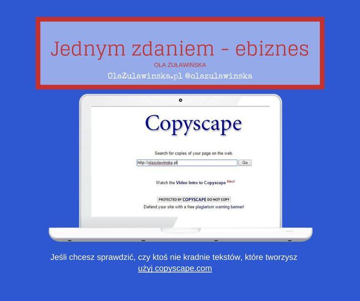 Jeśli chcesz sprawdzić, czy ktoś nie kradnie tekstów, które tworzysz - użyj copyscape.com #copyscape #antyplagiat