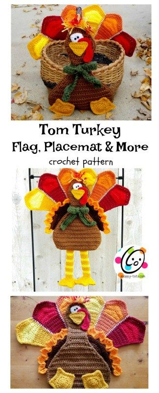 Pattern: Tom Turkey Flag, Placemat, Wall Hanging, Wreath and more ~ SnApPy ToTs