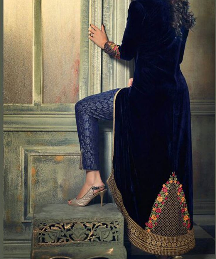 #OnlineShoppingIndia Store sell #Designer Heavy #Embroidered on Velvet With Bottle Green Color top And Satin Green Golden Bottom With Chiffon Dupatta #semi-stitched salwar-suit #dress materials.