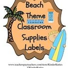 This is a set of classroom supplies labels for a beach/ ocean theme classroom. Labels have colorful borders which include beach clipart along with ...