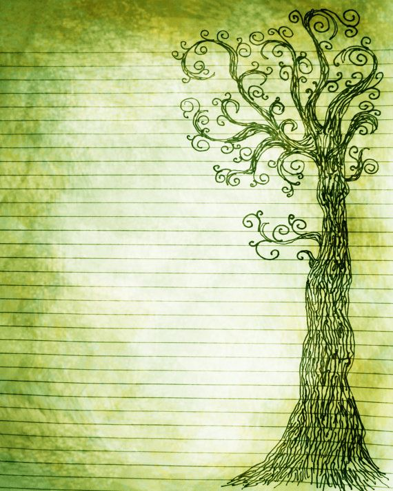 Printable Journal Page Pen and Ink Drawing of a Tree 8 by InkedInk, $2.50