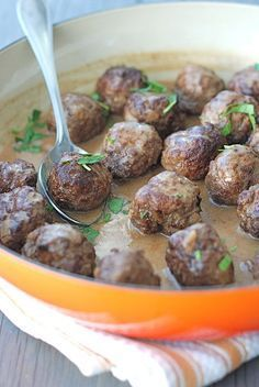 Norwegian meatballs --- It's a meat combination different than Italian -- Scandinavians ALL make them.