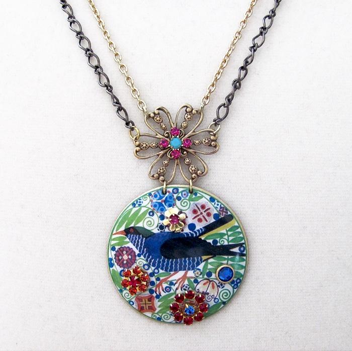 Art Nouveau Bluebird and Rhinestone Necklace