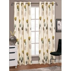 """66"""" x 90"""" Allium / Dandelion Teal Modern Eyelet / Ringtop Faux Silk Curtains Pair, Fully Lined: Amazon.co.uk: Kitchen & Home £37.50 + 5.95 delivery"""
