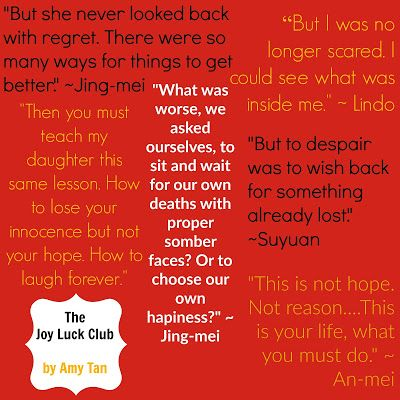 being a chinese in the joy luck club by amy tan In amy tan's the joy luck club, a novel consisting of vignettes told by various narrators, tan tells the story of four chinese immigrant families the families consist of the woo family, hsu family , jong family, and st clair family.