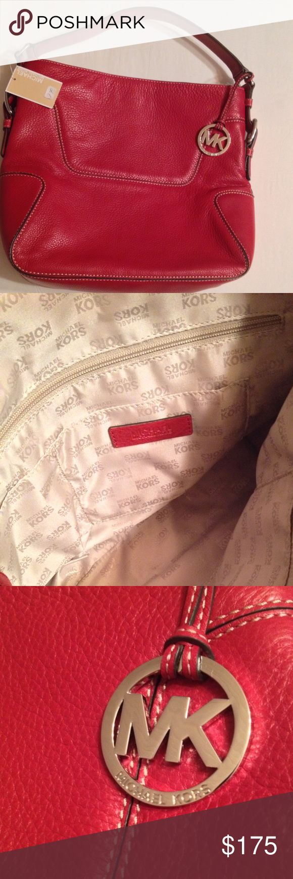 NWT Michael Kors Large Red Shoulder Bag *Would consider trade for pink, purple/Lavender or blue COACH. Authentic NWT Michael Kors Large Red Leather Shoulder Bag. Michael Kors Bags Shoulder Bags