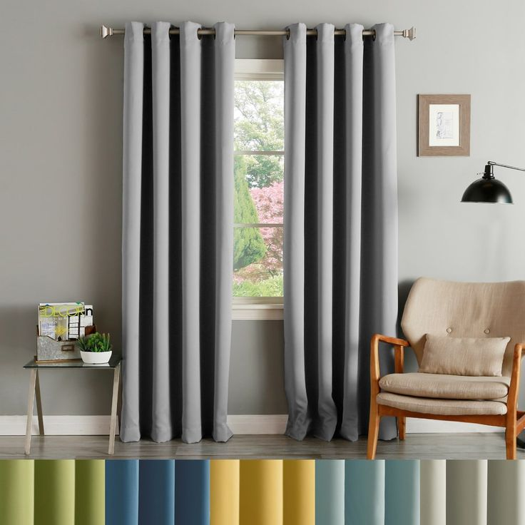 Aurora Home Thermal Insulated Blackout Grommet Top Curtain Panel Pair