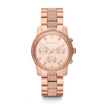 Sale 	 	Runway Midsized Rose Tone Glitz Watch Glitz crystals embellish the rose gold-tone stainless steel case and bracelet of the Michael Kors Runway chronograph giving it ample shine for day or night.Click to View Our Michael Kors 2-Year Warranty