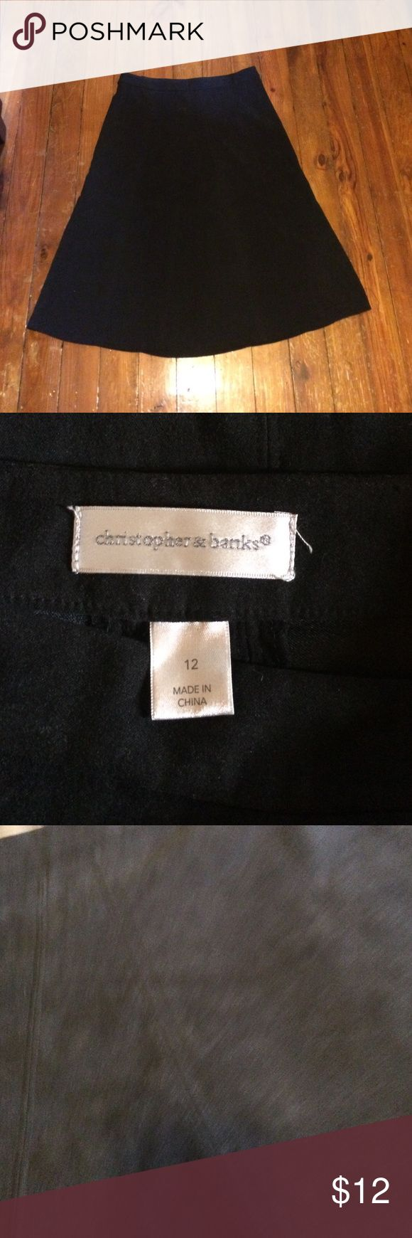 Christopher banks faux suede maxi skirt Size 12 longer black skirt. The material is very soft reminds me of velvet or suede but is neither. Very well made & lovely :) smoke free home dog mom. Skirts