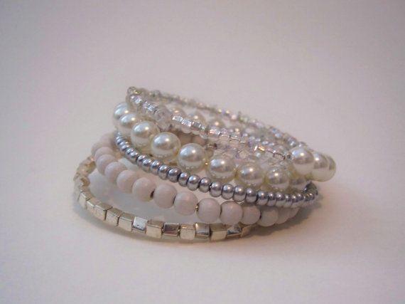 White & Silver Multi-strand Memory Wire Wrap Bracelet ~ gems by ellen on Etsy.