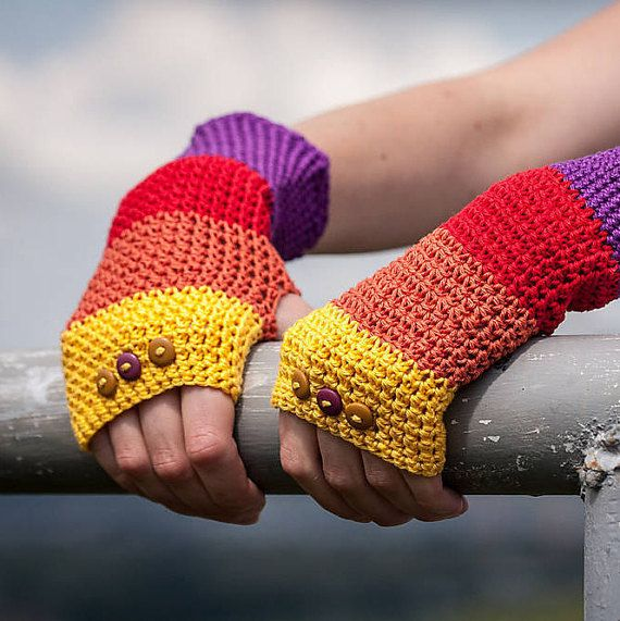Violet Red Orange Yellow Fingerless Gloves / 100% by RUKAMIshop