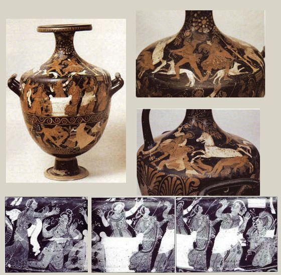 Apulian vase (h.66 cm), Painter Arpi, 320 BC, Foggia, Museo Civico. https://hemmahoshilde.wordpress.com/2016/01/13/niobe-pottery/