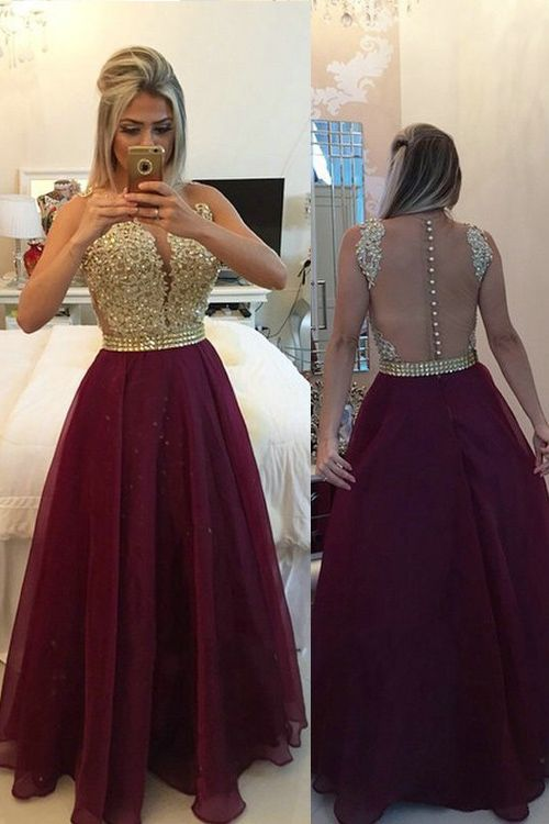 Illusion V-neck Sleeveless Burgundy Prom/Evening Dress With ...
