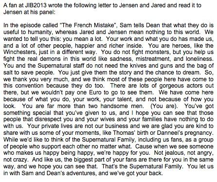 This is a fantastic fan letter read to Jensen and Jared. It encapsulates everything that is the Supernatural fandom.