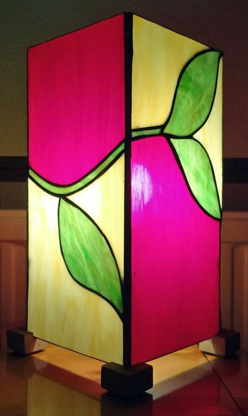 Tiffany stained glass box lamp by Tina Ellis.