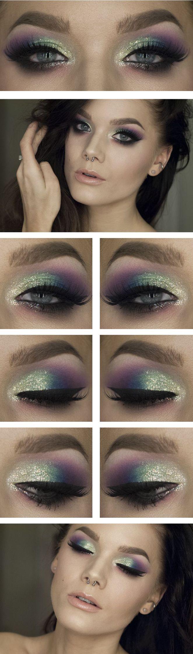 Tendance Maquillage Yeux 2017 / 2018 Feu d'artifice Violet bleu et vert avec des paillettes. Et c'est légitime la SEULE fille