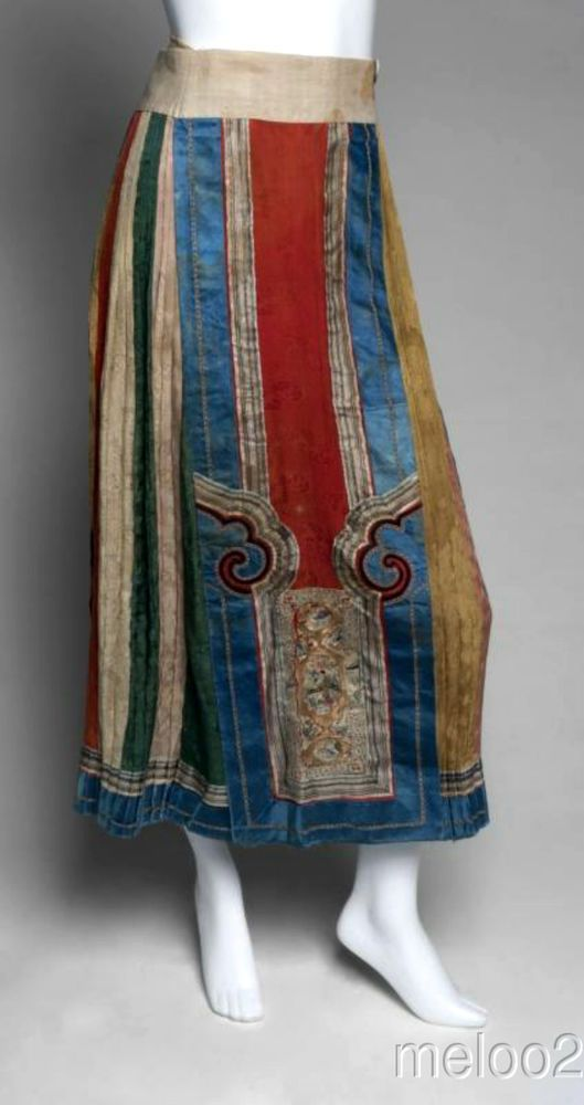 GRETA GARBO ESTATE! Amazing Handmade Turkish skirt c.1924 (Both the cloud patterns in red and the panel on the bottom look Chinese)