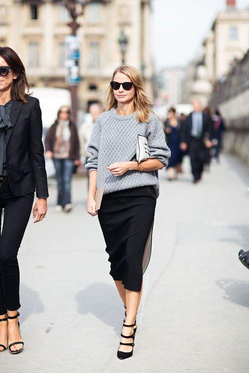 grey knit + black midi skirt. Like the skirt length.