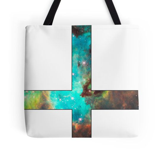 Green Galaxy Inverted Cross White Tote Bag - Available Here: http://www.redbubble.com/people/rapplatt/works/9123004-green-galaxy-inverted-cross-white?p=tote-bag