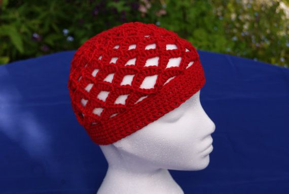 "Hand crochet retro style beanie hat in ""Strawbs Red"". Scalloped boho hippie 70s-style crochet hat. Cotton hat. Summer hat. Beach, kufi hat"
