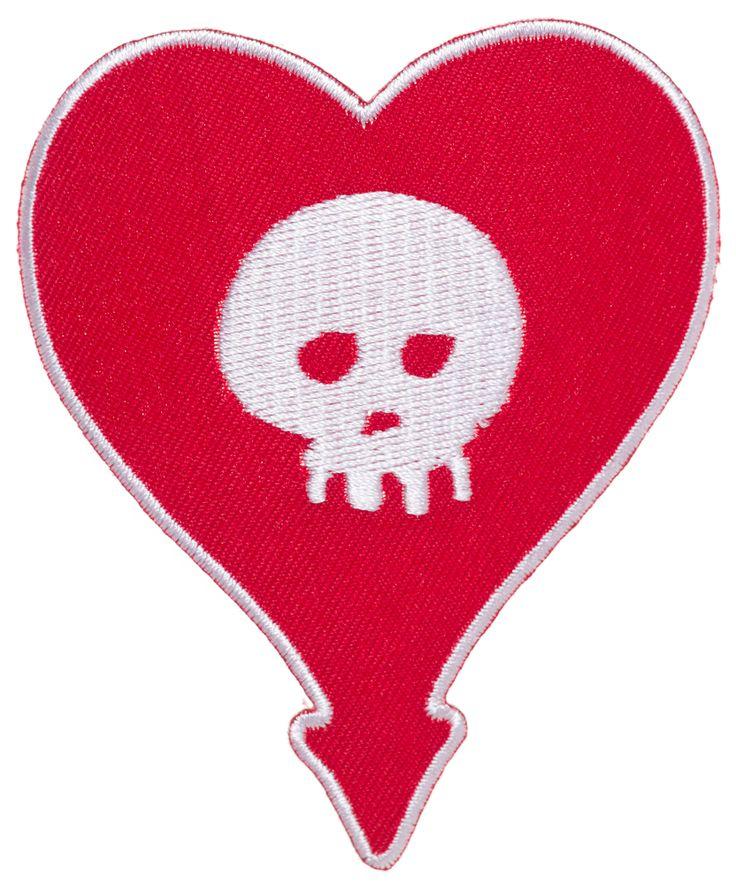 ALKALINE TRIO HEART SKULL EMBROIDERED PATCH $6.00 #alkalinetrio #patch #accessories