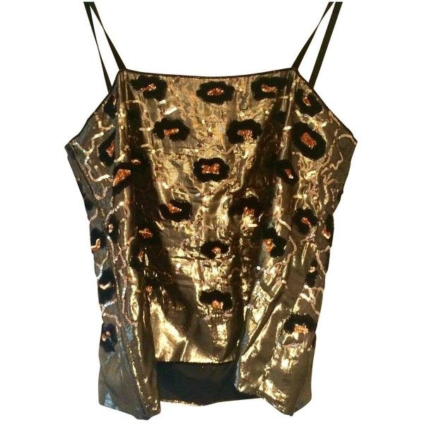 Pre-owned Dior Camisole ($71) ❤ liked on Polyvore featuring tops, gold, women clothing tops, gold cami top, gold cami, gold sequin camisole, sequin cami top and sequin cami