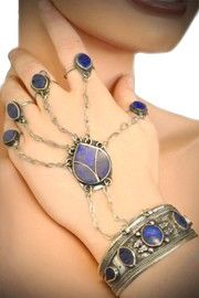 Afghani Tribal Lapis Slave Bracelet with 5 Rings