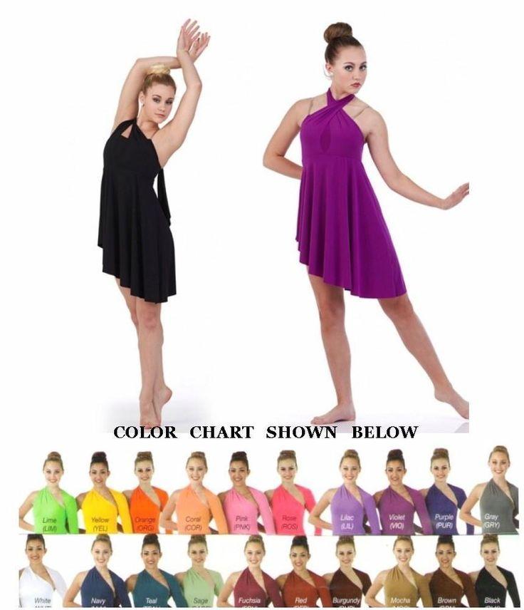 Conversion Ballet Contemporary Convertable Neck Lyrical Dress Dance Costume USA #Cicci
