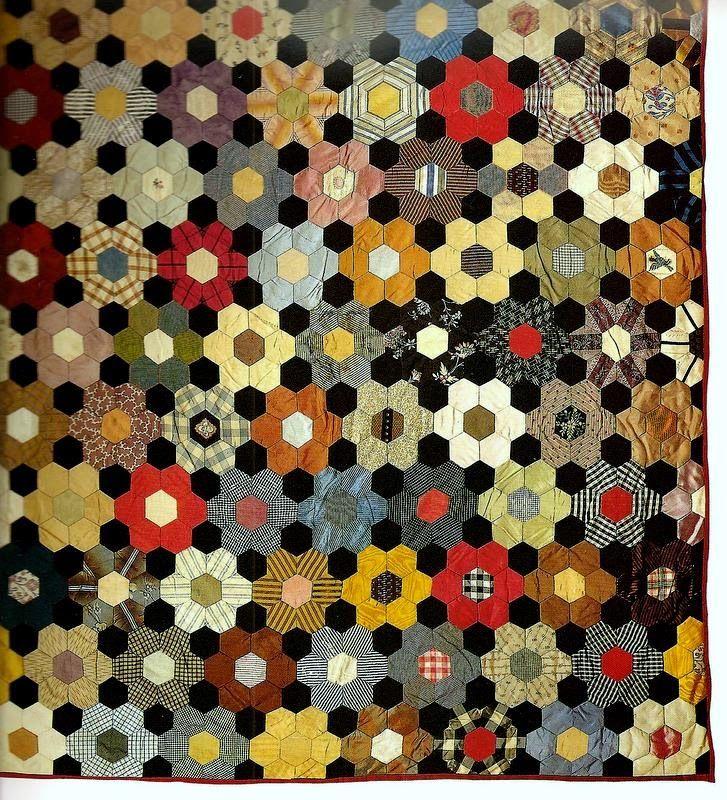 A Sentimental Quilter: Antique Hexagon Crib Quilt