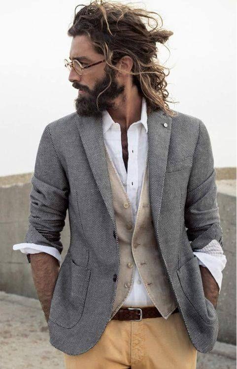 grey blazer, grey-khaki cardigan, white shirt, camel pants, seal brown belt.