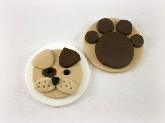 Puppy Fondant Cupcake Toppers Puppy Birthday Party by LenasCakes, $19.95